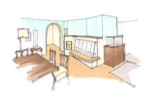 Skizze eines Speicherofens in einem Wohnraum