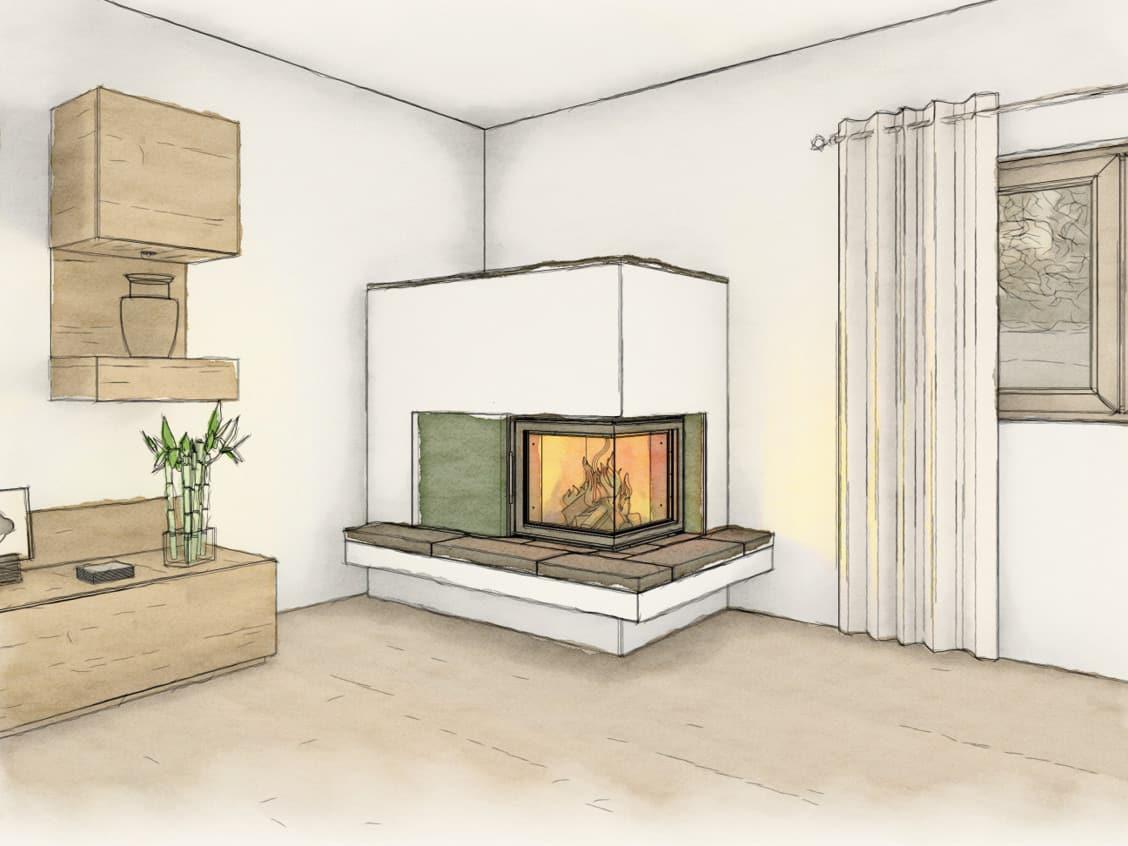 Skizze von einem Wohnzimmer mit einem neuen Kachelofen
