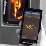 Handy Anzeige von Temperatur, Ofen dahinter