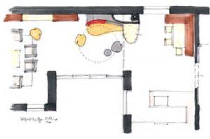 Grundriss einer Wohnung, in der der Kachelofen ein zentrales Element ist