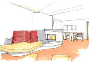 Skizze eines modernen Kachelofens, mit den Farben rot, grau und beige