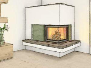 ein gezeichneter Speicherofen mit Sichtfenster