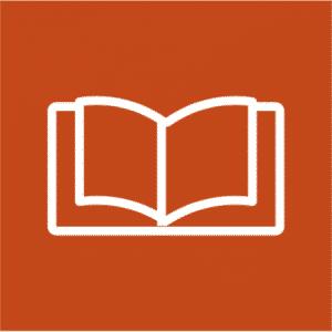Weißes Buch Icon auf rotem Hintergrund