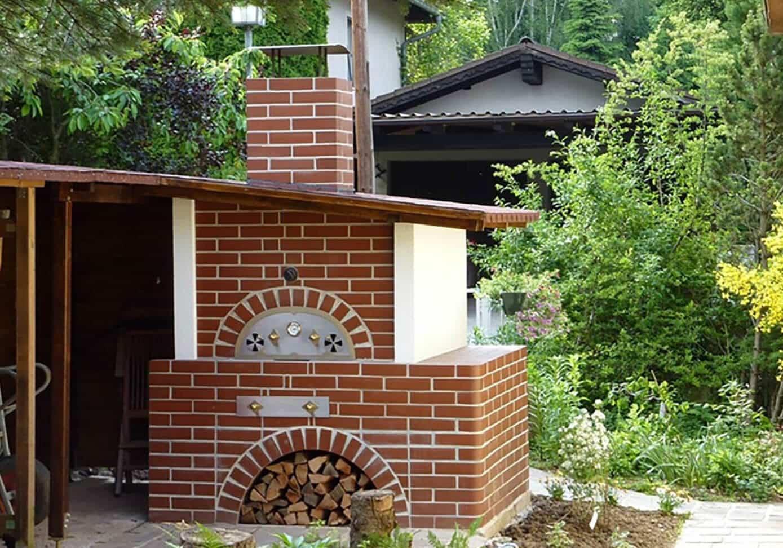 Ofen im Garten aus Ziegeln - Holzbackofen Gestaltung