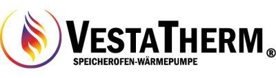 Logo und Schriftzug der Firma Vestatherm - Speicherofen mit Wärmepumpe
