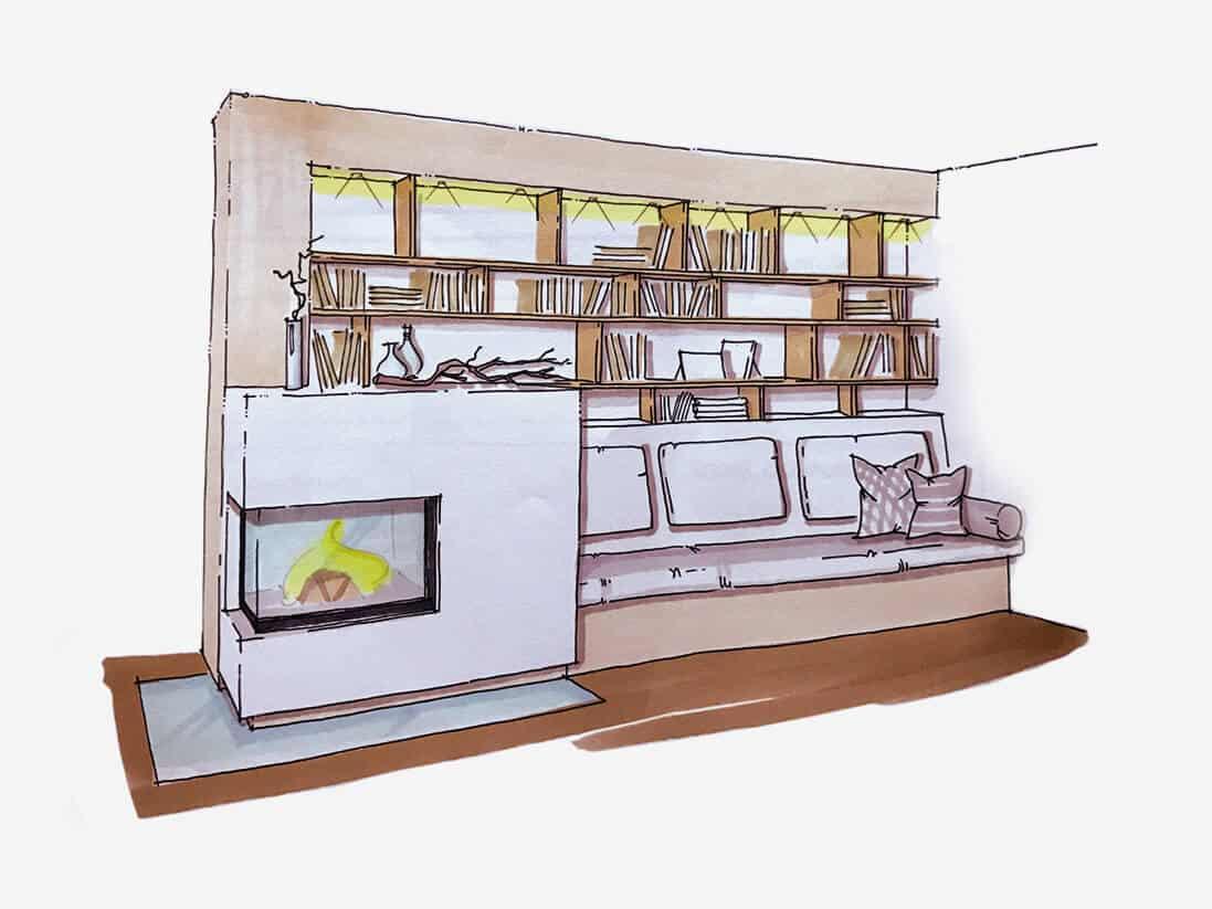 Skizze eines Wohnraumes - Speicherofen mit Wärmepumpe